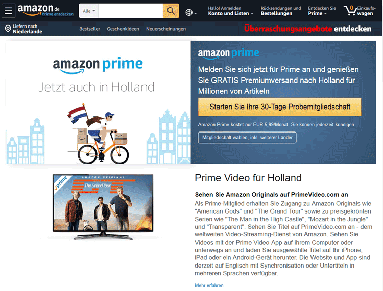 Screenshot van Duitse Amazon Prime site