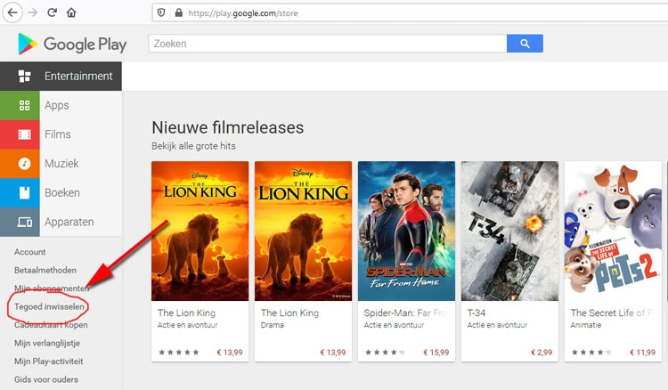 Google Play in de browser, tegoed inwisselen vanaf desktop