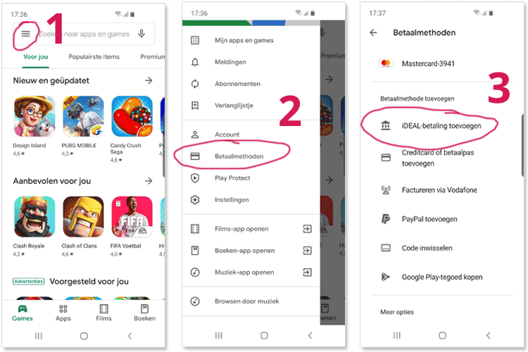 Interface van de Google Play app, in 3 stappen iDEAL toevoegen.