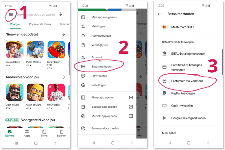 Google Play app stappen route dor menu om Play tegoed via telefoonprovider te activeren