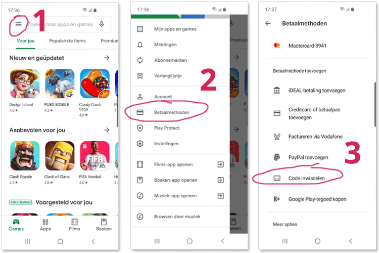 Google Play app stappen door menu om tegoed card in te wisselen